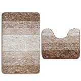 Aonewoe Set of 2 Microfiber Bath mats Absorbent Bathroom Shower Mats Washable Bathroom Rug Set Non Slip Rubber Toilet Pedestal Mat (Brown)