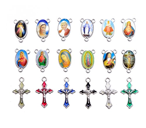 Yaoding 30sets Mix Picture Rosary Cross and Center Sets for Rosary Bead Necklace Makings, Alloy Crucifix Cross Pendants and Oval Picture Links