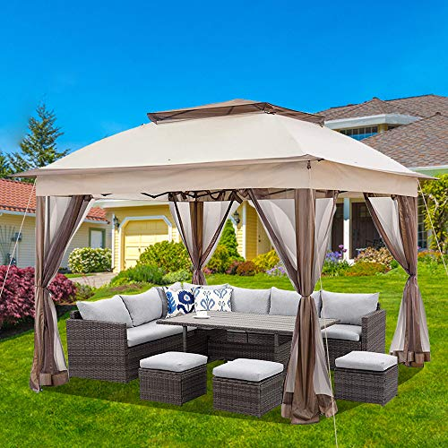 La fete 11' x11' 2-Tier Roof Pop-Up Gazebo Tent Instant with Mosquito Netting + Carry Bag Outdoor Soft Top Gazebo Canopy Shelter Garden Lawn Patio House Party Canopy Home Yard BBQ Structures Gazebos