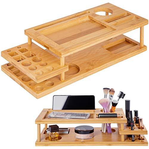ONVAYA® Organizer für Make-up & Schminke | Kosmetik Organizer aus Bambus-Holz | Aufbewahrungsbox fürs Badezimmer | Ordnungsbox für Bad, Schminktisch oder Schreibtisch | multifunktional