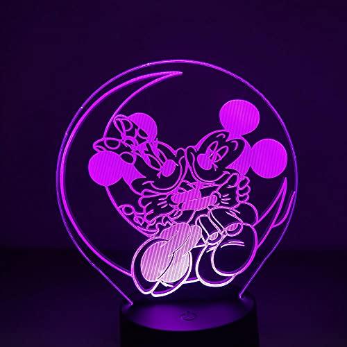 Lámpara de ilusión 3D Luz de noche LED Dibujos animados Mickey Minnie Visual Mouse Lámpara de mesa para niños Dormitorio Lámpara de cabecera Complementos Muebles Habitación de niños Niño Niña Regalo
