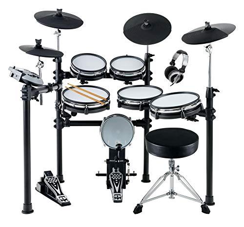 XDrum DD-530 MAXI KIT E-Drum Set - elektronisches Schlagzeug mit 400 Sounds und Lernfunktion - 4 Pads mit Mesh Heads - 4 Beckenpads - inkl. Hocker und Kopfhörer