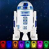 Star Wars R2-D2 LED Night Light, Color Changing, Collector's Edition, Dusk-to-Dawn Sensor, Plug-in, Disney, Galaxy, Ideal for Bedroom, Bathroom, Nursery, Hallway, 43669