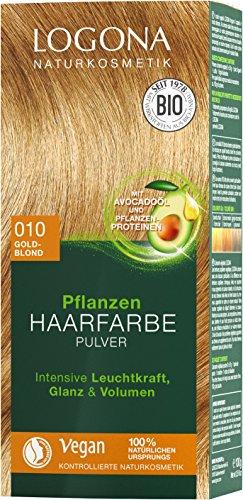 LOGONA Naturkosmetik Pflanzen-Haarfarbe Pulver 010 Goldblond, Vegan & Natürlich, Blonde Natur-Haarfarbe mit Henna, Coloration, 100g
