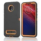 FastSun Motorola Moto Z4 Defender Schutzhülle, stoßfeste Hybrid-Hülle, zweilagiges Design, Hartschale für Motorola Moto Z4 (schwarz-orange)