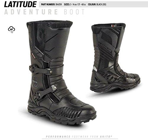 Akito Latitude Motorrad und Stiefel Motorrad Hochwertiger Knöchelschutz Boot Schuhe Rutschfeste Racing Sport | Full Black