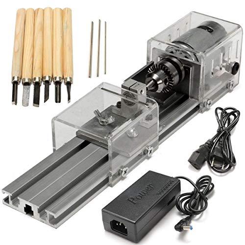 YUQIYU Tornos de madera, mini torno Cuentas de la máquina de trabajo de madera DIY Torno de pulido rotatoria del taladro Herramienta DC 24V