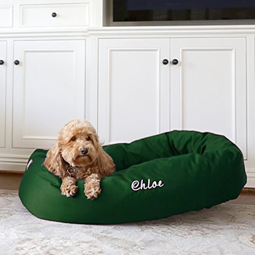 Majestic Pet Personalized Bagel Dog Bed - Machine Washable - Soft Comfortable Sleeping Mat - Durable Bedding Supportive Cushion Custom Embroidered - Available Replacement Covers - Extra Large Green