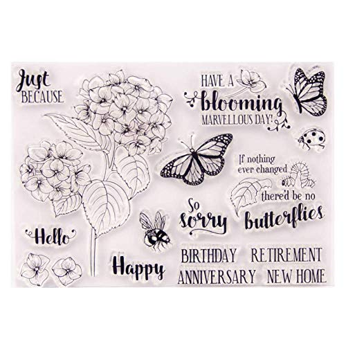 Spring Flowers Leaves Butterfly Caterpillar Ladybug Bee Clear Rubber Stamps for Scrapbooking Card Making Words Hello Have a Blooming Marvellous Day Retirement Anniversary New Home Happy Birthday