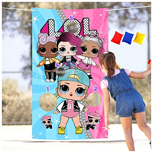 Cute Girls Pink Toss Games with 3 Bean bags Party Games Outdoor Yard Lawn For Kids and Adults Girl Pink Theme Birthday Party, Baby Shower, Family Game, Class game, Party Favors