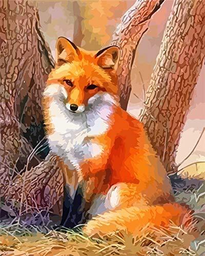 Pintura al óleo de bricolaje por números Animal sobre lienzo Arte abstracto Regalo único para colorear por números Fox Unframe Decoración del hogar A1 40x50cm