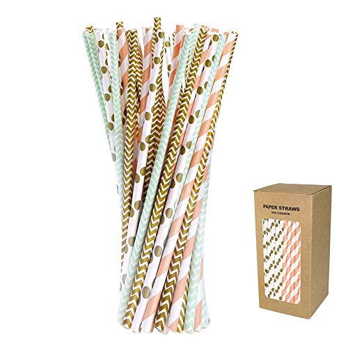 O-Kinee Papier Strohhalme Bunt, 250 Stück Papierstroh Biologisch Abbaubare Papier Trinkhalme Einweg-Strohhalme für Geburtstag Hochzeit Weihnachten Feier Parteien