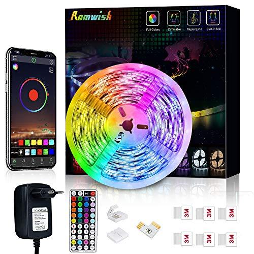 Striscia LED 5M, Romwish luci led colorate RGB SMD 5050 Bluetooth musica Sync LED Strip controllo app e 44 tasti telecomando RF 12 V alimentatore di rete per casa, cucina, festa, TV, decorazione
