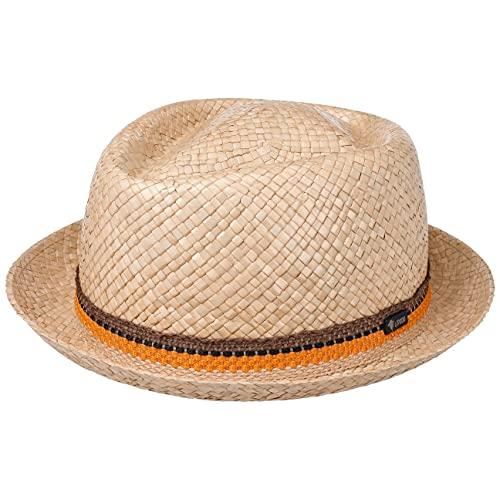 LIPODO Sombrero de Paja Diamond Nature Mujer/Hombre - Made in Italy Fedora Verano Playa Primavera/Verano - L (58-59 cm) Natural