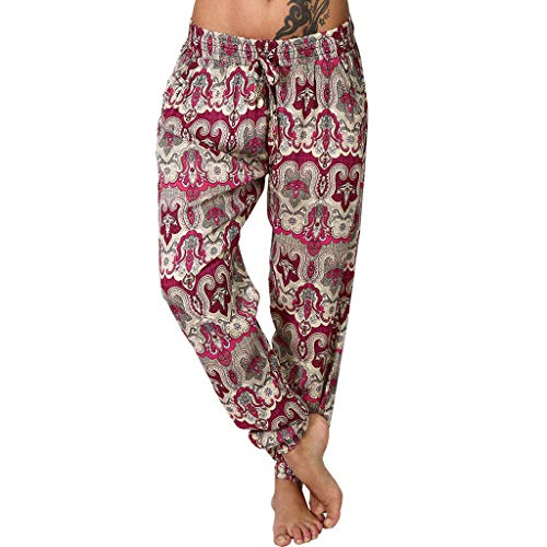 Find Discount Tropical Print Yoga Pants - Bohemian Wide Leg Pants Womens Vintage Lounge Pants Women'...