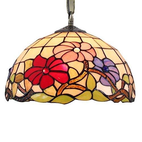 Vintage hanglamp, Tiffany-stijl, kroonluchter, kunstglas, handbeschilderd, eetkamer, 12 inch, kamerdecoratie, balkonhanger, E27, zonder lichtbron (grootte: 30 cm)