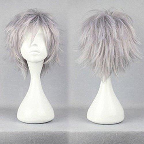 S-noilite® Perruque de cheveux courts et raides unisexe pour femme, homme, garçon, fille (gris argenté)