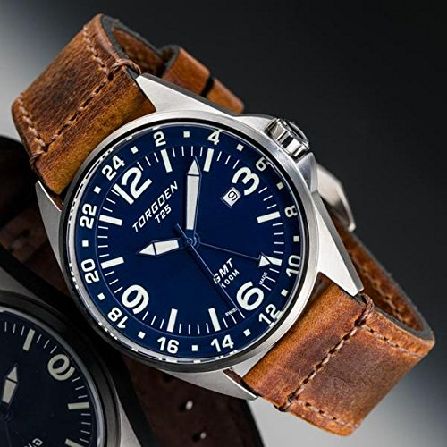 Montre Pilot Torgoen T25 GMT Bleu | 44 mm – Bracelet en Cuir Vintage