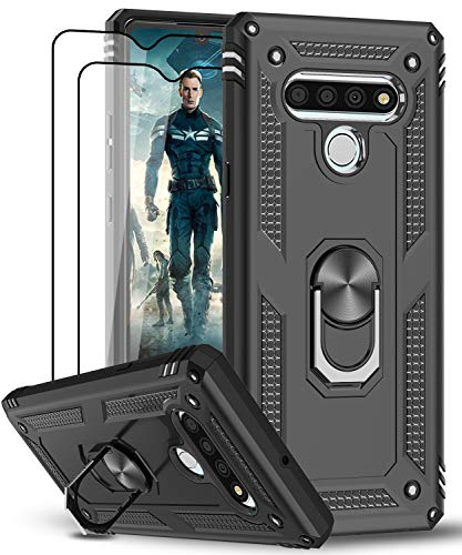 LeYi Compatible for LG Stylo 6 Case, LG Stylo 6 Phone Case with [2 Pack] Tempered Glass Screen Protector, [Military-Grade] Armor Protective Case with Magnetic Ring Kickstand for LG Stylo 6, Black