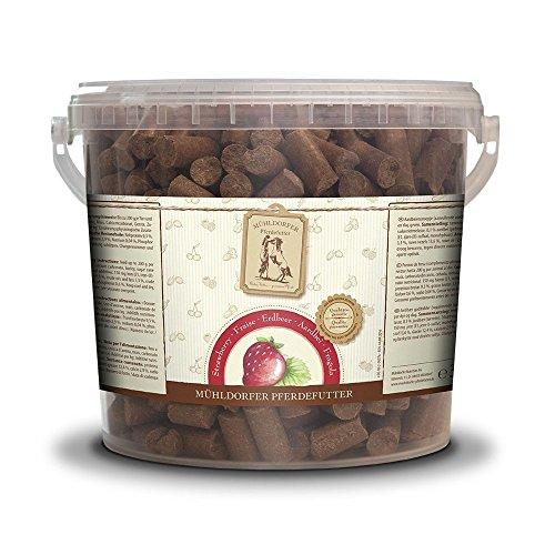 Mühldorfer Erdbeer Leckerli, 3 kg, Leckerlis für Pferde, Belohnungsfutter mit Erdbeergeschmack, bröckeln, schmieren und kleben nicht