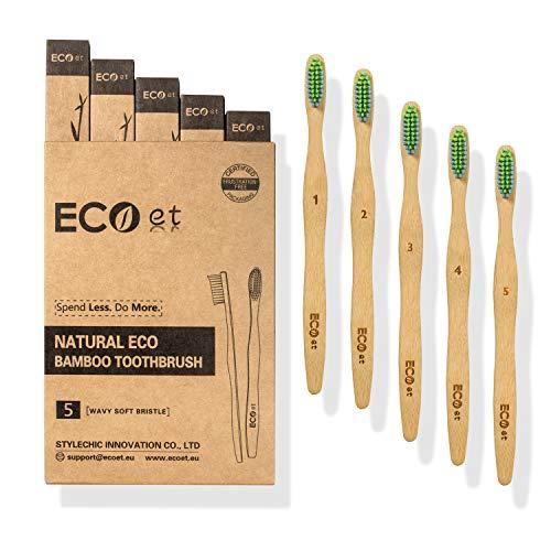 Cepillos De Dientes De Bambú Cerdas Naturales Marca ECOet