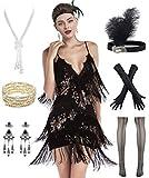 Women's Flapper Dress 1920s Gatsby Tassel Sway Dance Cocktail Dress with 20s Accessories Set (M, Black)
