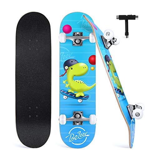 BELEEV Skateboard 31x8 Zoll Komplette Cruiser Skateboard für Kinder Jugendliche Erwachsene, 7-Lagiger Kanadischer Ahorn Double Kick Deck Concave mit All-in-one Skate T-Tool für Anfänger (Grün)