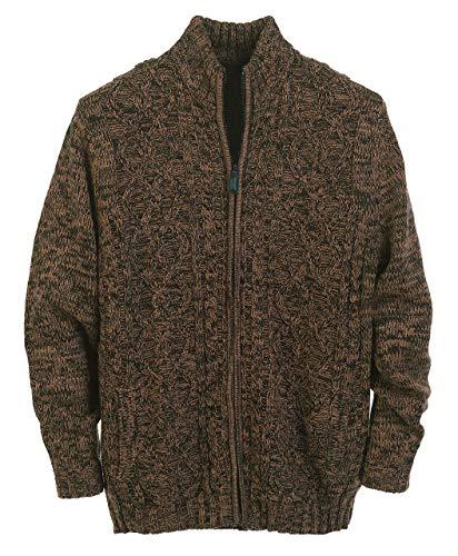 Gioberti Mens Cardigan Twisted Knit Regular Fit Full-Zipper Sweater, Brown, X-Large