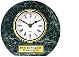 Genuine Green Marble Round Desk Clock with Gold Engraving Plate. Table Shelf Clock Retirement Gift, Employee Recognition and Service Award, Appreciation Gift and Wedding Anniversary Birthday Present