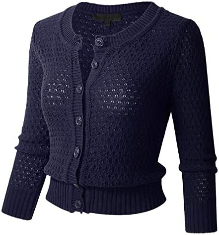Womens Button Down 3 4 Sleeve Crewneck Cropped Knit Cardigan Crochet Sweater XL Navy product image