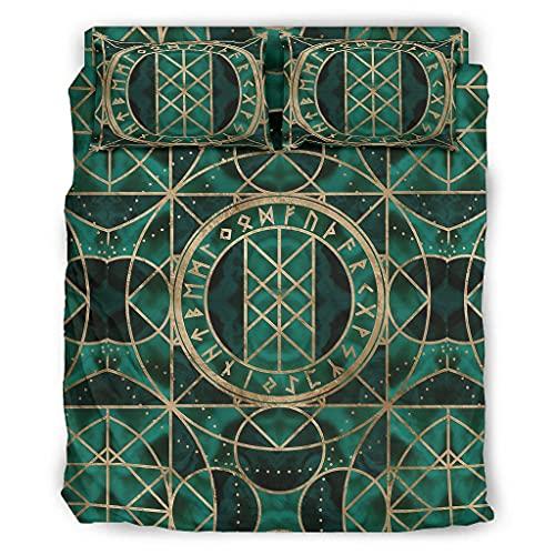 Knowikonwn Juego de 4 piezas de edredón y fundas de almohada Viking Runes – Juego de sábanas de cama suave y fácil de lavar – 4 fundas blancas4 228 x 264 cm