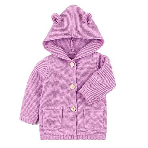 New Baby Sweaters Boy Girl Cardigan Cartoon Bear Ear Hooded Jackets Autumn Kids Knitted Clothes Light Purple 82W443 6M