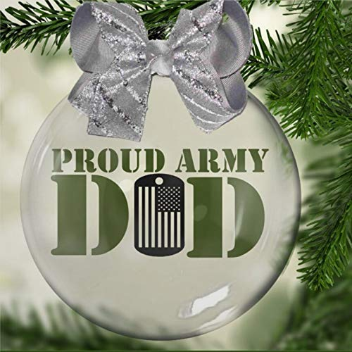 DONL9BAUER Proud Army Dad Acrylic Christmas Ball Ornament,family soldiers patriot hero Christmas Bauble Tree Ornament with presents for Church Members,Holiday,Family & Friends.