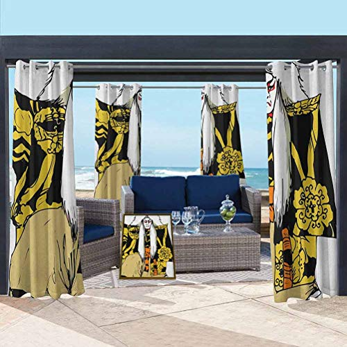 Kabuki Mask Outdoor Sheer Curtain for Door Porch Sun Room Japan Traditional Performing Arts Character Actor Figure Illustration Print Multicolor 108W x 63L Inch
