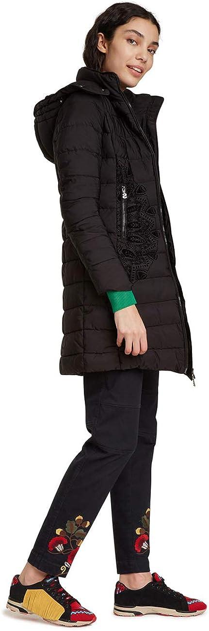 Desigual Damen Coat Mandala Mantel Schwarz (Negro 2000)