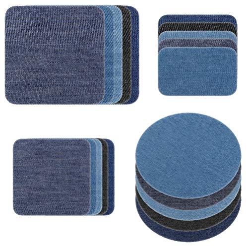 37kuku Patches zum Aufbügeln Set Jeans Bügelflicken 20/24 Stück 4 Farben 4 Größen Flicken zum zum Aufbügeln Jeans Denim Baumwolle Patches für Kleidung