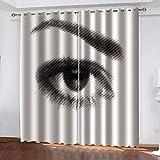Ageeseso® Dormitorio 3D Habitación Infantil Cortinas Belleza Mujer Ojos Cejas Super Soft Térmica Aislante Cortinas Poliéster Adecuado Balcon Salón Habitación Dormitorio Modernos Cortinas 300(W) x280(
