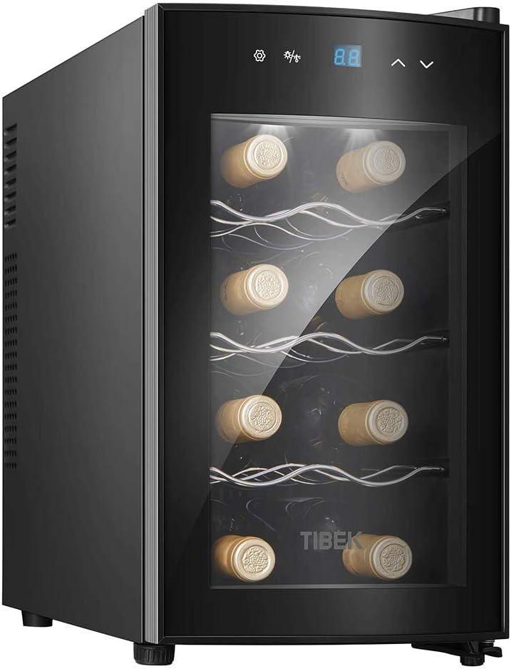 Refrigerador de vino - Refrigerador de vino pequeño, enfriador de 8 botellas, táctil, 39 Db en funcionamiento, puerta de vidrio, ajuste de 51 a 64 °;F, Vinoteca Termoeléctrica Eléctrica Frigorífico C