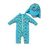 BONVERANO - Costume da bagno da bambino a 3/4 della lunghezza delle maniche con protezione UV 50+, con chiusura lampo Pesce blu 80/86 cm