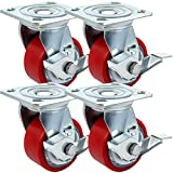 700 degree flat iron - BestEquip 4 Pack Caster Wheels 4 x 2 Inch with Side Brake Polyurethane Swivel Caster 360 Degrees Heavy Duty Casters Iron Core Top Plate 700LBS Capacity per Wheel