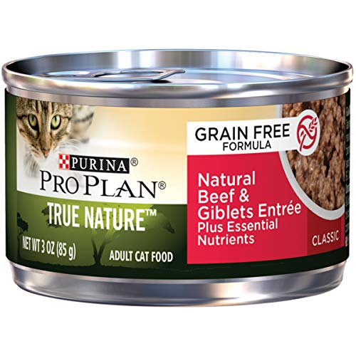 Purina Pro Plan Natural, Grain Free Pate Wet Cat Food, TRUE NATURE Natural Beef & Giblets Entree - (24) 3 oz. Pull-Top Cans