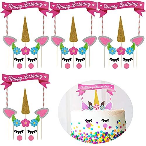 dancepandas Einhorn Kuchen Topper 4er Tortendeko Einhorn Geburtstag Tortendekoration Geburtstagkinder Happy Birthday Kuchendeko für Kinder Mädchen Junge für Geburtstag/Hochzeit Party