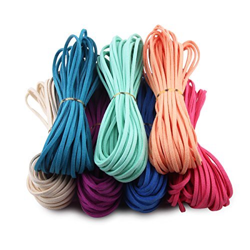 Candygirl DIY Micro-Fiber Flat Leather Lace Beading Thread Faux Suede Cord String Velvet Beading Jewelry Making