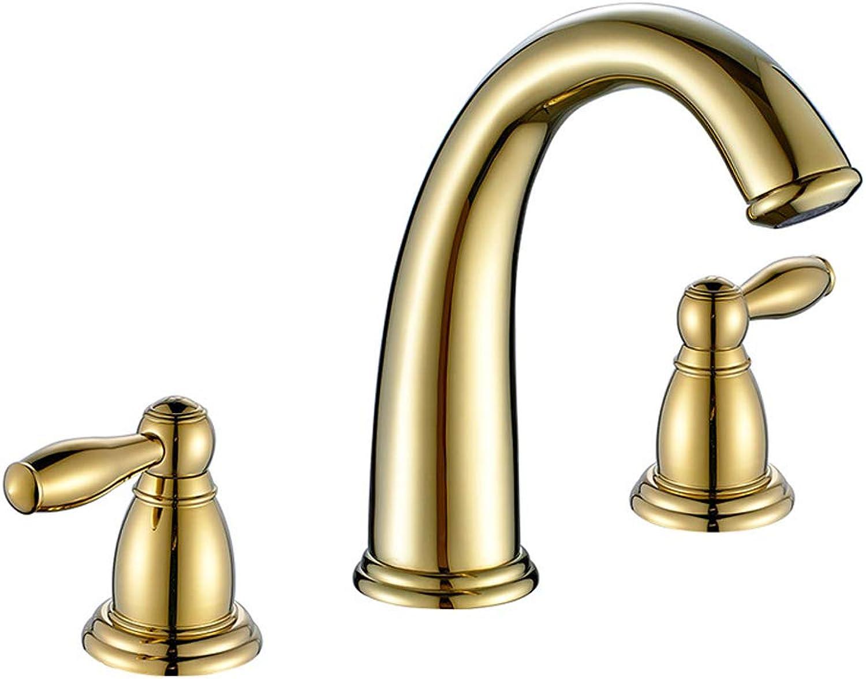 BFDMY Nordic Split DREI Lcher Waschtischarmatur Messing Gold Badezimmer Waschbecken Wasserhahn,GoldFaucet