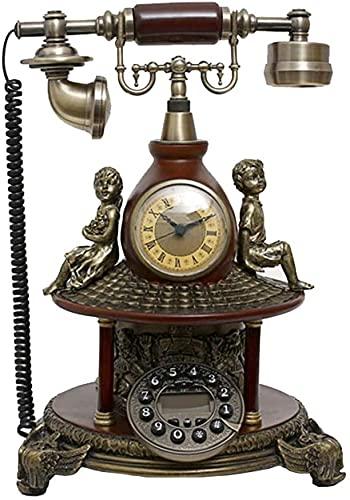 TAIDENG Clásico Europeo Retro teléfono Fijo teléfono Antiguo teléfono decoración Moda Retro ángel niñez Villa Estilo Europeo Estilo Antiguo telefono (Color : Black)