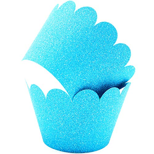 Glitter Cupcake Wrappers Adjustable, Reusable - 50 Count (blue)
