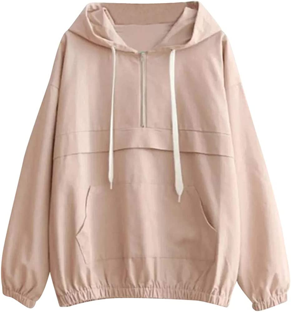 POTO Women Pullover Tops,Women's Quarter zipper Casual Hooded Long Sleeve Crop Top Sweatshirts Hoodies with Pocket