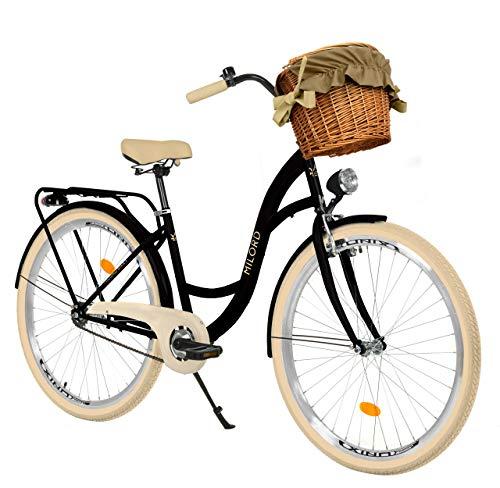 Milord Bikes Bicicleta de Confort Negro y Crema de 1 Velocidad y 28 Pulgadas con Cesta y Soporte Trasero, Bicicleta Holandesa, Bicicleta para Mujer, Bicicleta Urbana, Retro, Vintage