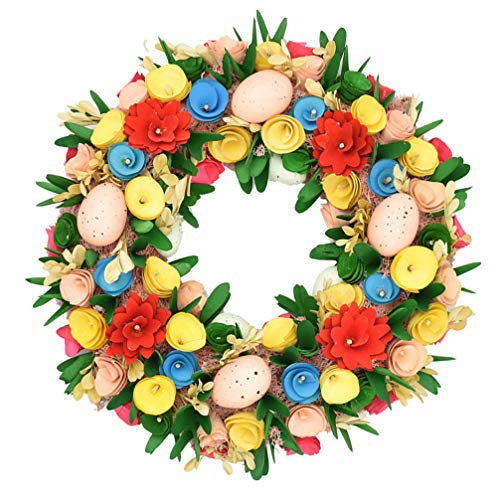 Toddmomy Flower Easter Eggs Wreath with Mixed Flowers Pastel Eggs Colorful Eggs Wreath Easter Eggs Decoration for Front Door Indoor Wall Easter Holiday