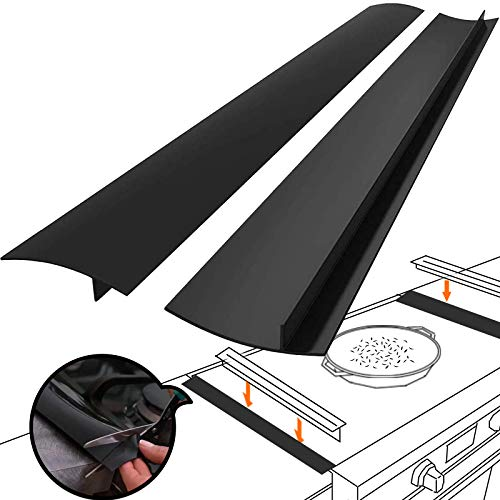 Silicone Gap Cover, (2 Pack) Silicone Gap filler Stopper Kitchen Stove Counter Gap Covers - Flexible Stove Space Fillers, Food Grade (21inches, Black)